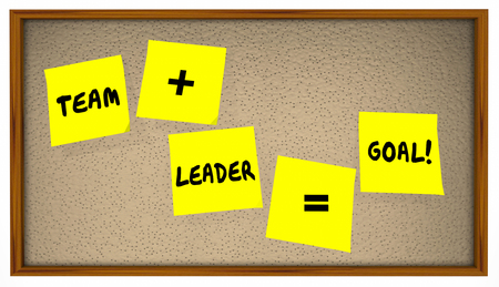 equals: Team Plus Leader Equals Results Sticky Notes Words