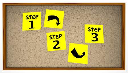 bulletin: Steps Instructions 1 2 3 Bulletin Board Sticky Notes