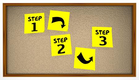 Steps Instructions 1 2 3 Bulletin Board Sticky Notes Reklamní fotografie