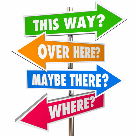 This Way Over There Arrow Signs Lost Confusion Help Direction 3D