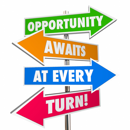 every: Opportunity Awaits at Every Turn Arrow Signs Attitude 3D Stock Photo