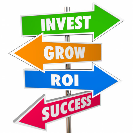 succeeding: Invest Grow ROI Success Arrow Road Signs 3D Stock Photo
