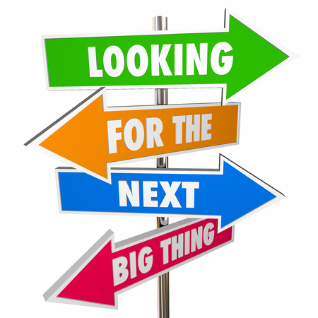 disrupt: Looking for Next Big Thing Road Arrow Signs Change 3D Stock Photo