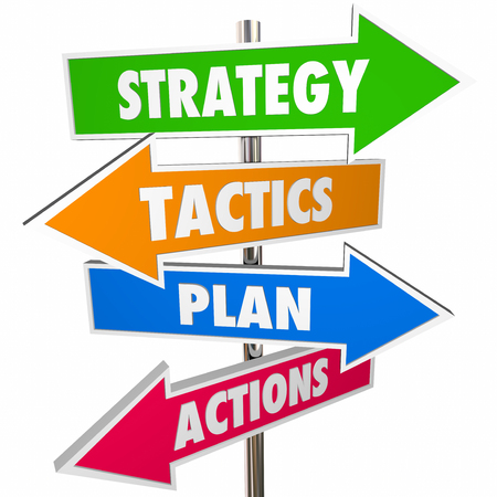 tactics: Strategy Tactics Plan Action Arrow Signs Achieve Goal 3D