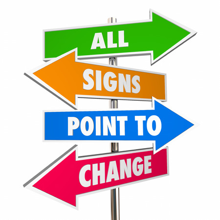 evolve: All Signs Point to Change Adapt Evolve Disrupt Signs 3D Stock Photo