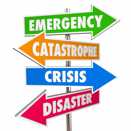 Crisis de Emergencia para Catástrofes Desastres señales de advertencia 3D Foto de archivo