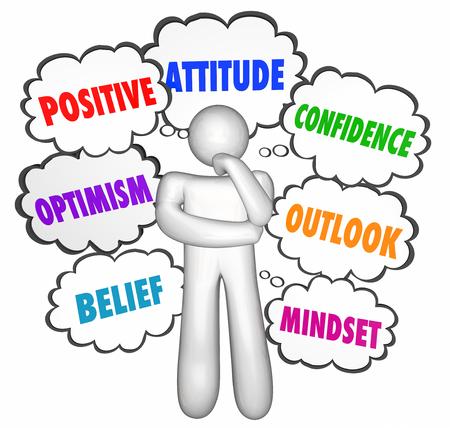 actitud: Las nubes del Pensamiento El pensamiento positivo pensador Buena Actitud Confianza Foto de archivo
