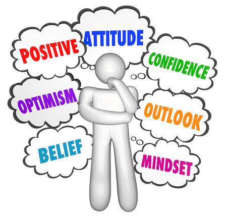 attitudes: Positive Thinking Thought Clouds Thinker Good Attitude Confidence