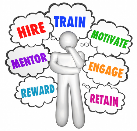 thought clouds: Hire Train Motivate Reward Retain Thinker Thought Clouds Stock Photo