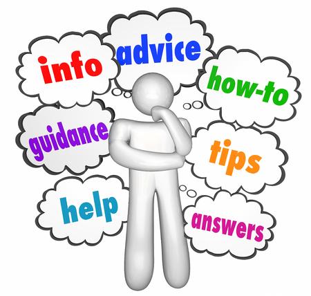 pensador: Consejos de Informaci�n Como nubes de pensamiento que ayuda a las puntas del pensador