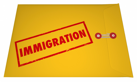 immigrate: Immigration Files Documents Application Envelope Stamped Word 3D