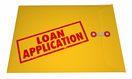 Loan Application Yellow Envelope Stamped Words 3D