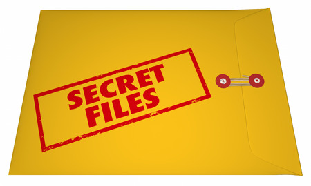 concealing: Secret Confidential Classified Files Documents Stamped Envelope 3D Stock Photo