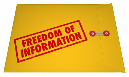 secret information: Freedom of Information Act Government Documents Unsealed Envelope 3D