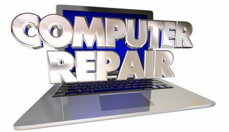 troubleshoot: Computer Repair Laptop Fix Technical Support Help Solve Problem Stock Photo