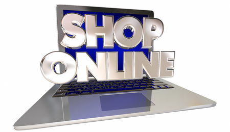 shop online: Shop Online Website eCommerce Store Buy Internet Computer Laptop Stock Photo