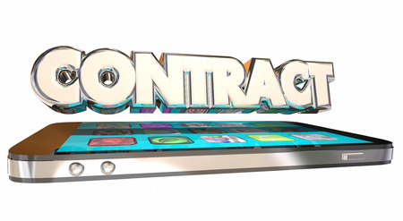 contracted: Contract Cell Mobile Phone 3D Word Service Data Plan Stock Photo
