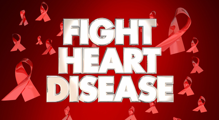 fight disease: Fight Heart Disease Awareness Ribbons Healthy Lifestyle Campaign Stock Photo