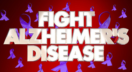 fight disease: Fight Alzheimers Disease Awareness Ribbons Fundraiser 3D Words