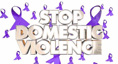 Stop Huiselijk Geweld Awareness Ribbons Voorkom misbruik 3D woorden