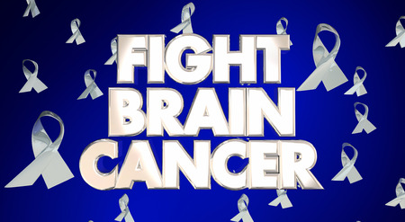 fight disease: Fight Brain Cancer Disease Ribbons Awareness Campaign 3D Words