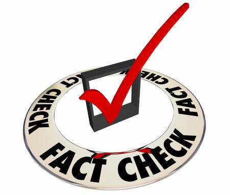 事実確認を確認正確な情報ボックス マーク 3 d 言葉 写真素材