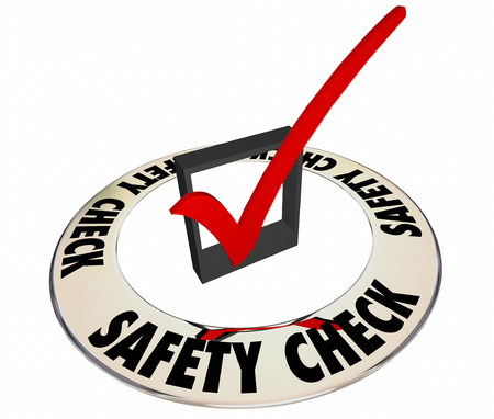 measured: Safety Check Box Mark Inspection Security Review Approval 3d Word Stock Photo
