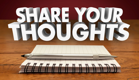 thoughts: Share Your Thoughts Comments Review Feedback Notebook Pen