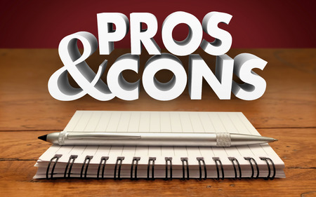 cons: Pros and Cons Weighing Positives Negatives List Notepad Pen Stock Photo