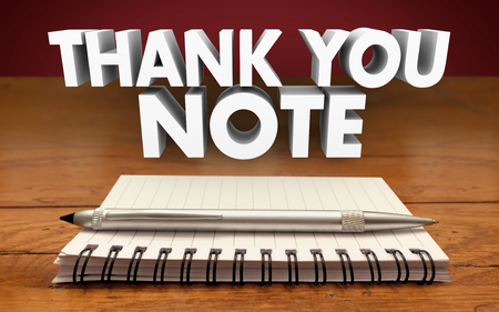 courteous: Thank You Notes Write Notepad Pen Appreciation Communicate Stock Photo