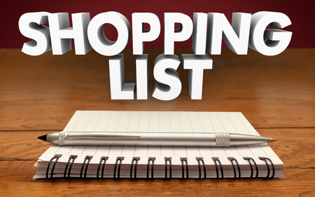 purchase: Shopping list Notepad Pen Reminder Buy Purchase Needed Items Groceries Gifts