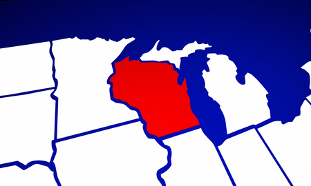state of wisconsin: Wisconsin WI State United States of America 3d Animated State Map Stock Photo