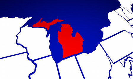 mi: Michigan MI State United States of America 3d Animated State Map Stock Photo