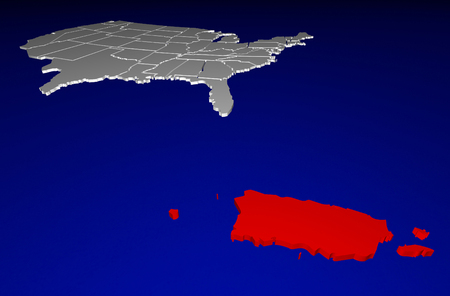 protectorate: Puerto Rico PR Territory United States of America 3d Animated State Map Stock Photo