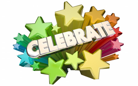 celebrate: Celebrate Success Winning Goal Achieved Accomplished Stars 3d Word Stock Photo