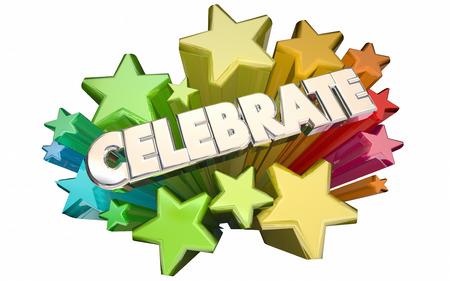 Vier Succes Winnen doel bereikt Accomplished Stars 3d Word
