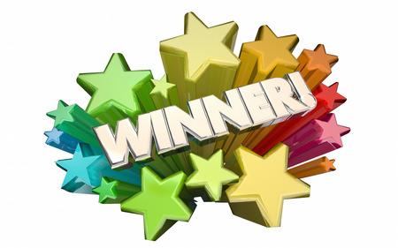 Gewinner Erfolg Wettbewerb gewonnen Lotterie Wettbewerb Spiel Sterne 3D-Wort