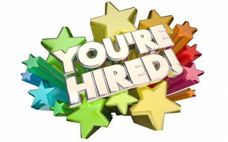 felicitaciones: Youre Hired Interview Applicant Job Candidate Success 3d Stars Words