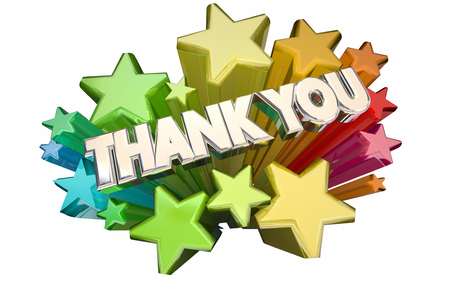 acknowledge: Thank You Appreciation Message Stars Words 3d Stock Photo