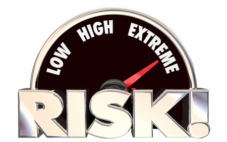 accident rate: Risk Low High Extreme Speedometer Danger Level 3d Words