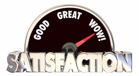 satisfaction: Satisfaction Level Speedometer Measure Happiness Pleasure Words