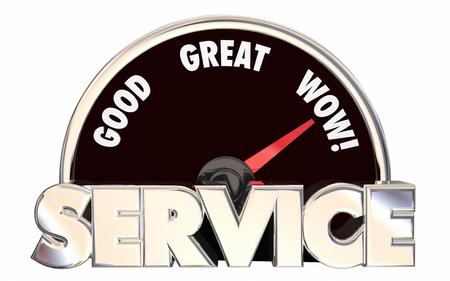 Best Service Hoch bewertet Unternehmen Business Speedometer Wörter 3D