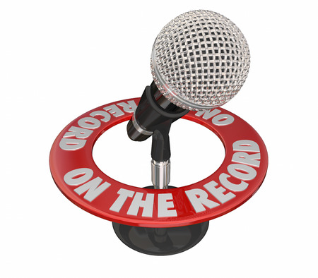 ring stand: On the Record Microphone Quote Speech 3d Words