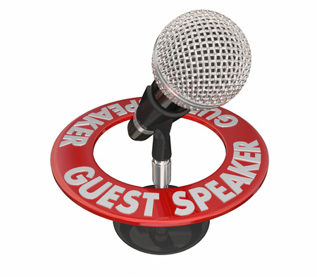 Guest Speaker Microphone 3d Words Expert Discussion Talking Stock Photo