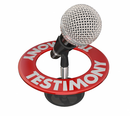Getuigenis Microfoon Word 3D Hof Witness spreek Evidence