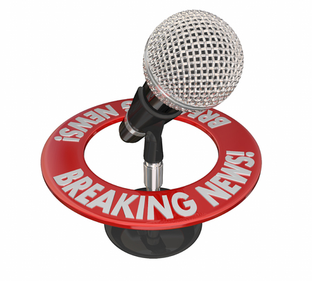 Breaking News Important Announcement Big Story Microphone Reklamní fotografie - 56097605