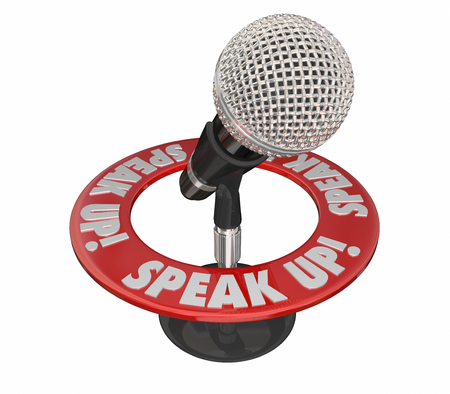inform information: Speak Up Microphone Communicate Voice Ideas Opinions 3d Words Stock Photo