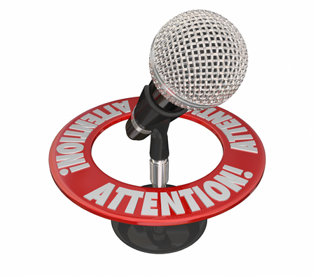 inform information: Attention Word Microphone Urgent Critical Important Message 3D Stock Photo