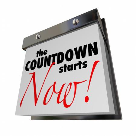 Countdown begint nu kalender dag datum definitieve woorden Stockfoto