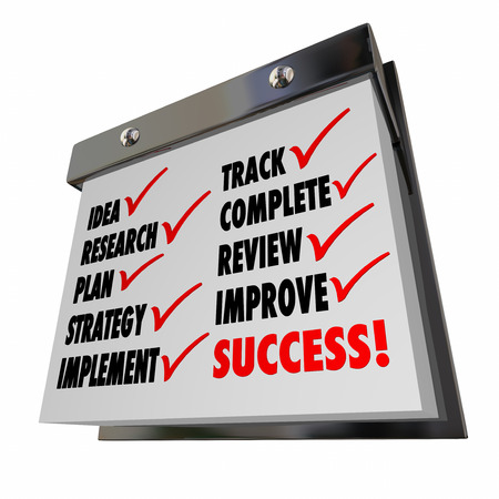 implement: Idea Plan Strategy Implement Track Improve Calendar Words Stock Photo